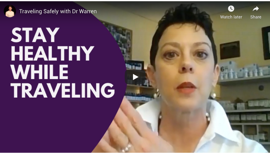 Screenshot of Dr. Mary Warren's video on how to stay healthy while travelin