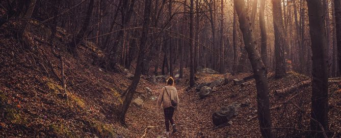 PIcture of woman in sweater and leggings walking over fallen leaves in a forest.
