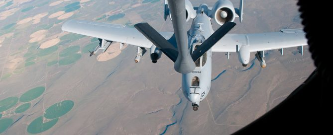 Picture of a mid-air refuel from the fueling craft.